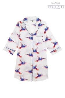 Their Nibs White Based Moing Hummingbird Cotton Nightshirt