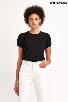 Whistles Black Broderie Puff Sleeve Top