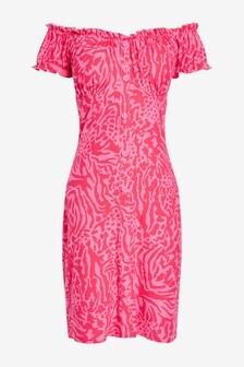 Pink Animal Short Sleeve Bardot Dress