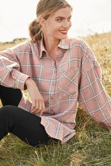 Pink Longline Check Shirt
