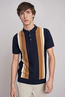 Navy Block Stripe Premium Polo