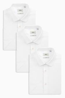 White 3 Pack Skinny Fit Single Cuff Shirts