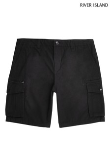 River Island Black Cargo Shorts