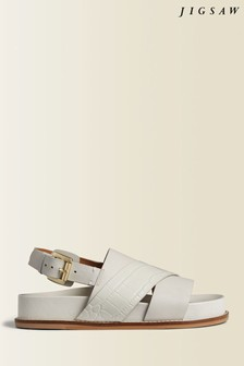 Jigsaw Cream Laia Buckle Heel Sandals