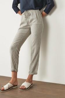 Neutral Linen Blend Taper Trousers