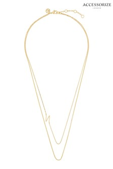 Accessorize Gold Plated Double Chain Initial Necklace - N