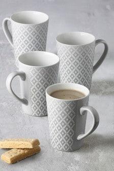 Set of 4 Geo Latte Mugs