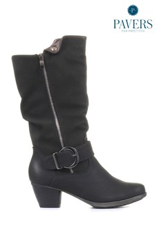 Pavers Black Ladies Lightweight Calf Boots With Buckle