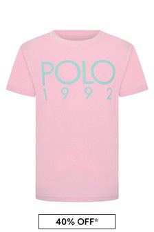 Boys Pink Cotton Jersey Polo T-Shirt