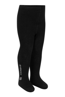 Girls Black Jacquard Logo Tights