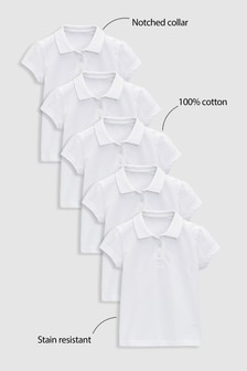 White Poloshirts Five Pack (3-16yrs)