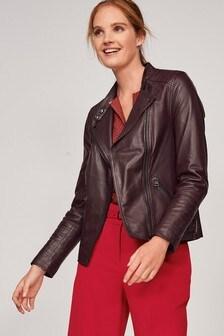 Berry Premium Leather Biker Jacket
