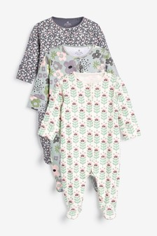 Green 3 Pack Floral Sleepsuits (0mths-2yrs)