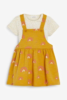 Ochre/Cream Pinafore Dress With Bodysuit (0mths-2yrs)