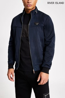 River Island Navy Branded Racer Outerwear