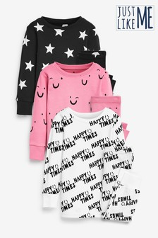 Monochrome 3 Pack Smiles/Slogan/Star Snuggle Pyjamas (9mths-12yrs)