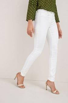 White Power Stretch Denim Leggings