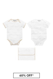 Emporio Armani Baby Boys Cream Bodysuits Gift Set