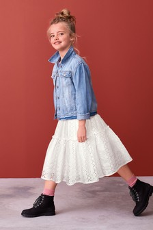 White Broderie Tiered Maxi Skirt (3-16yrs)