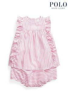 Ralph Lauren Pink And White Stripe Blouse And Shorts Set