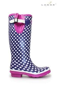 Lunar Adjustable Rubber Purple Polka Dot Wellington Boots