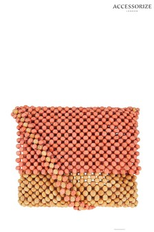 Accessorize Orange Beaded Cross Body Bag
