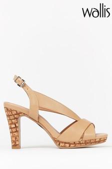 Wallis Starling Natural V Vamp Platform Sandals