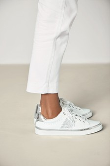 White Diamanté Detail Lace-Up Trainers