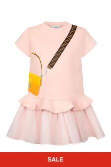 Fendi Kids Girls Pink Cotton Dress