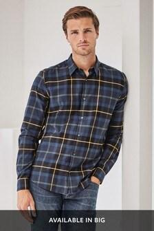 Blue/Yellow Regular Fit Long Sleeve Check Shirt