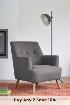 Soft Marl Dark Grey Carter Armchair with Light Legs