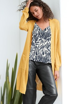 Ochre Linen Blend Longline Cardigan