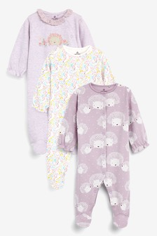 Lilac 3 Pack Hedgehog Sleepsuits (0-18mths)