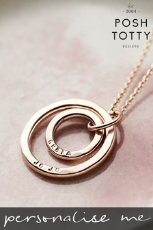 Personalised Mummy And Baby 18ct Rose Gold Plate Necklace by Posh Totty Designs