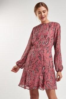 Pink Paisley Flippy Dress