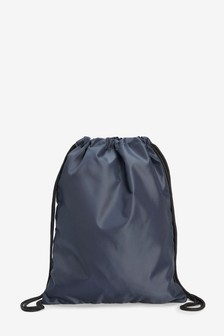 Navy Drawstring Bag With Internal Zip Pocket