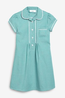Green Button Front Lace Gingham Dress (3-16yrs)