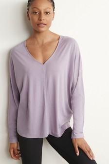 Mauve Long Sleeve Slouch Sports Top