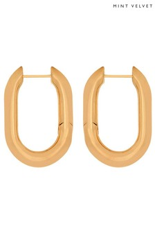 Mint Velvet Gold Chunky Oval Hoop Earrings