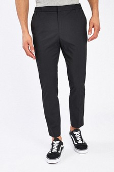 Black Drawstring Stretch Formal Trousers