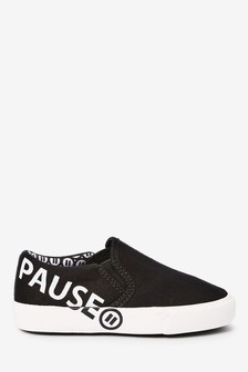 Monochrome Slogan Slip-On Shoes (Younger)
