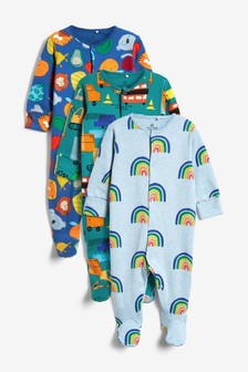 Multi 3 Pack Transport Sleepsuits (0mths-2yrs)