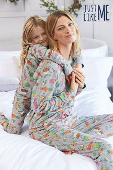 Grey Matching Mother & Me Womens Christmas Dinner Pyjamas