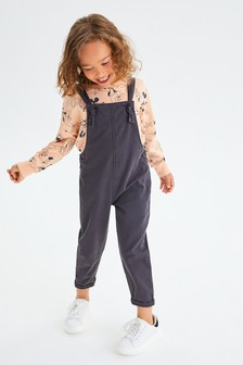 Black Soft Cotton Dungarees (3-16yrs)