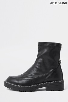 River Island Black Pull-On Studded Boots