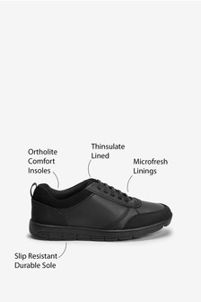 Black Wide Fit (G) Thinsulate™ Lined Black Leather Lace-Up Shoes