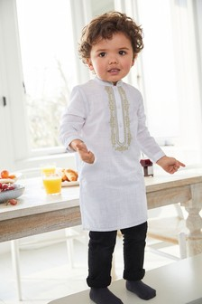 White/Gold Embroidered Tunic/Kurta (3mths-7yrs)