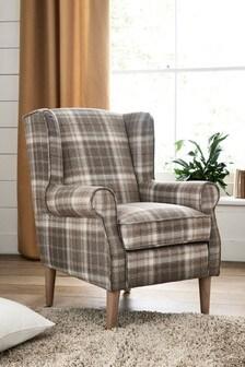 Tweedy Check Burford Natural Sherlock II Armchair With Light Legs