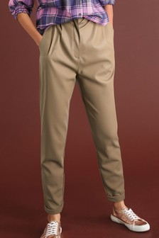Tan Faux Leather PU Taper Trousers