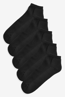 Black Cushion Sole Trainer Socks Five Pack